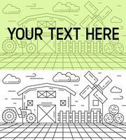 Flache Linie Design der Landwirtschaft mit Gebäude, Windmühle, Traktor