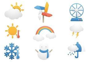 Temperatur- och vädervektorns ikonpaket