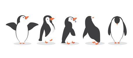 Pinguin-Figuren in verschiedenen Posen gesetzt