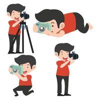 Mann mit Kameras in verschiedenen Posen vektor