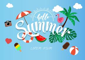 Frühlings-Sommerplakat, Fahnenvektorillustration und Design für Plakatkartenvektor, vektor