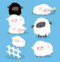 Söt Cartoon Sheeps teckenuppsättning