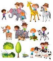 Set von Kindern mit Tier vektor