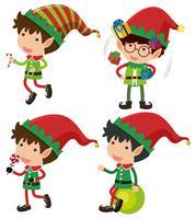 Vier Weihnachtsaufzüge mit Geschenken und Süßigkeit vektor