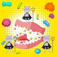 Bakterien im menschlichen Mund vektor