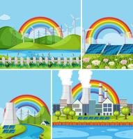 En uppsättning av naturkraftverk landskap vektor