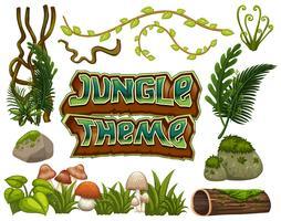 Set med djungelelement vektor