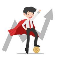 Supergeschäftsmann, der mit Münzen- und Wachstumdiagrammen steht vektor