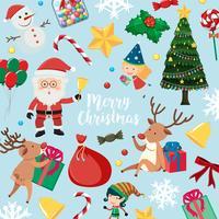 Weihnachtskarte mit Sankt und vielen Einzelteilen auf blauem Hintergrund