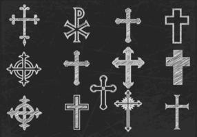 Kreide gezogenes Kreuz Vektor Pack