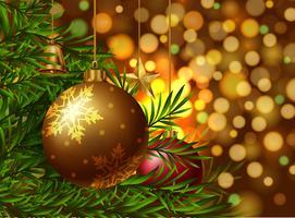 Weihnachtsthemahintergrund mit Verzierungen auf dem Baum vektor