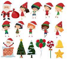 Eine Reihe von Kindern in Weihnachten vektor