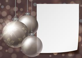 Hintergrundschablone mit Weihnachtsbällen vektor