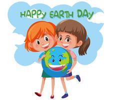 Glückliche Tag der Erde-Mädchen, die Erde anhalten
