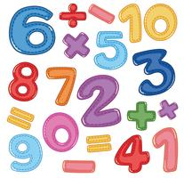 Eine Reihe von Zahlen und Mathematik-Symbol