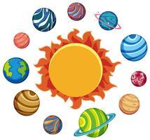 Set av planeter och sol vektor