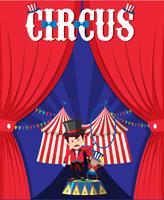 Cirkus med trollkarl bakom gardinen