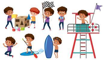 Sats med pojkar som gör aktiviteter