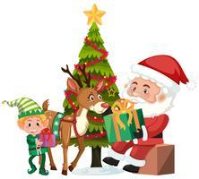 Jul och Santa på vit bakgrund vektor