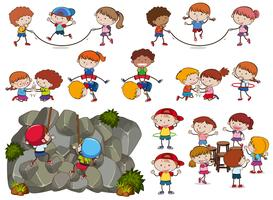 Kinder und Aktivitäten auf weißem Hintergrund vektor