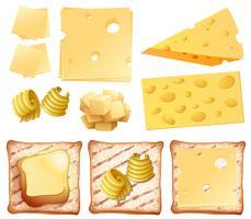 En uppsättning mejeriprodukter och rostat bröd vektor