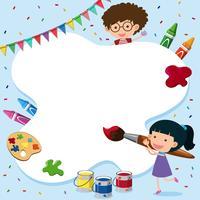 Gränsmall med barn och målningsverktyg
