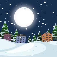 Natt vinterstad landskap vektor