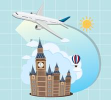 London landmärken med flygplan vektor