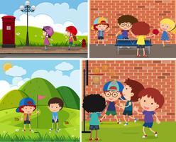 Vier Szenen mit Kindern, die verschiedene Sportarten ausüben