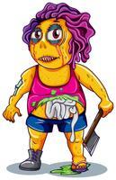 En zombie karaktär på vit bakgrund vektor
