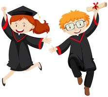 Zwei graduierte Studenten in Abschlusskleidern vektor