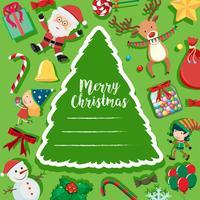 Julkort med Santa och snögubbe