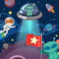 Två utomjordingar och astronaut i rymden