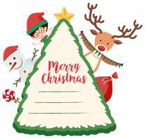 Julkortsmall med barn och snögubbe vektor
