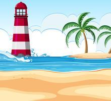 Strandplats med fyr vektor