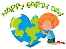 Glücklicher Tag der Erde mit Mädchen vektor