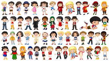 Set von multikulturellen Kindern vektor