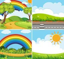 Vier Szenen mit Regenbogen und Sonne im Himmel