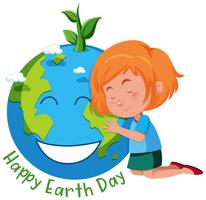 Tjej med jordens dag symbol vektor