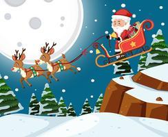 Santa på släde med reindoors nattscen vektor