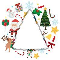 Julkort med Santa och andra ornament vektor