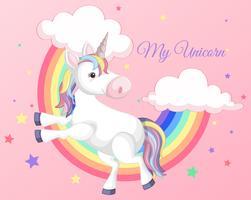 Unicorn med regnbåge på rosa bakgrund