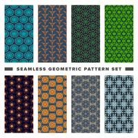 Set med sömlösa dekorativa geometriska former mönster vektor