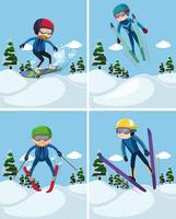 Fyra scener med människor som skidar på berg