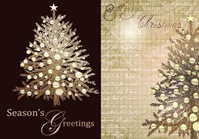 Weinlese-Weihnachtsbaum-Gruß-Vektor-Satz