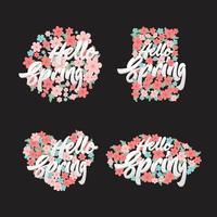 Hallo Frühlings-Beschriftung mit Blumen-Elementillustrationssatz