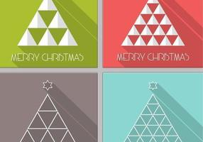 Langer Schatten-Weihnachtsbaum-Vektor-Satz vektor