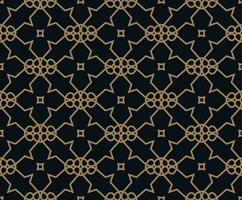 Seamless mönster av korsande tunna guld linjer på svart bakgrund. Abstrakt sömlös prydnad.