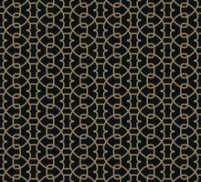 Nahtloses Muster des Schnitts von dünnen Goldlinien auf schwarzem Hintergrund. Abstrakte nahtlose Verzierung.
