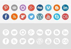 runda sociala medier ikon vektor pack